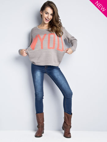 Jasnoszary sweter z sercem i nadrukiem YOU                                  zdj.                                  1