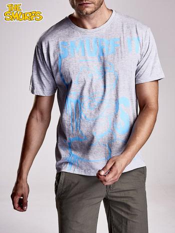 Jasnoszary t-shirt męski SMERFY                                  zdj.                                  2