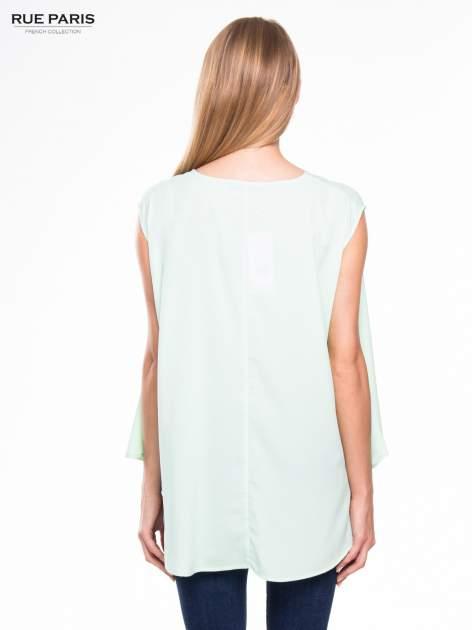 Jasnozielona koszula dzwonek z wydłużanym tyłem                                  zdj.                                  5
