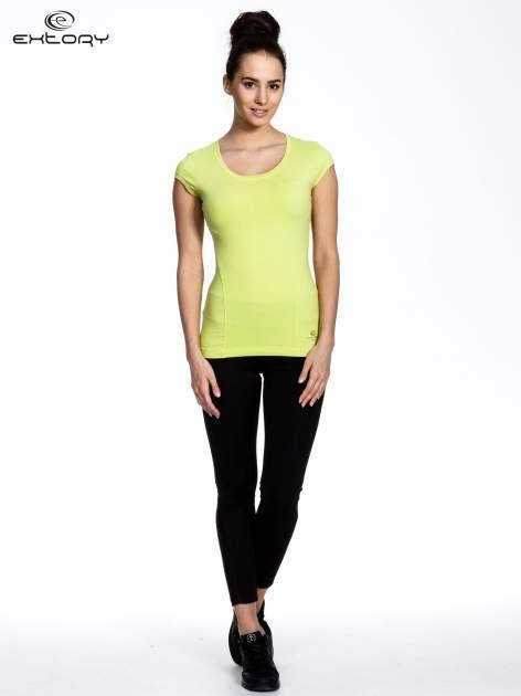 Jasnozielony damski t-shirt sportowy basic                                  zdj.                                  2
