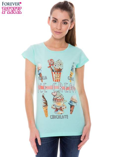 Jasnozielony t-shirt z nadrukiem ICE CREAM                                  zdj.                                  1