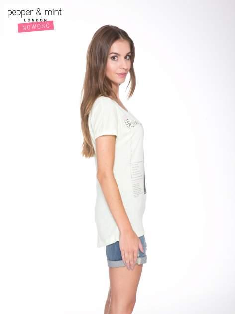 Jasnozielony  t-shirt z nadrukiem fashion                                  zdj.                                  3