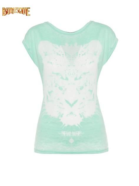 Jasnozielony t-shirt z nadrukiem tygrysa                                  zdj.                                  1