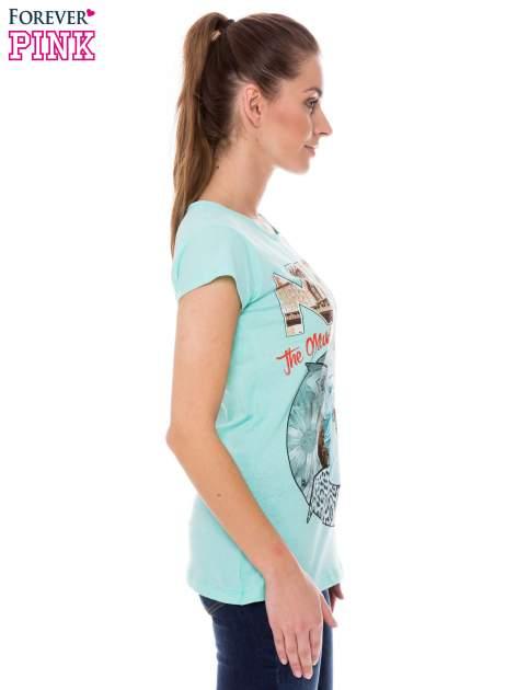 Jasnozielony t-shirt z nadrukiem w amerykańskim stylu                                  zdj.                                  2