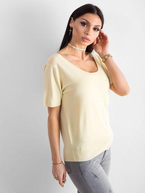 Jasnożółta bluzka z głębokim dekoltem                              zdj.                              3