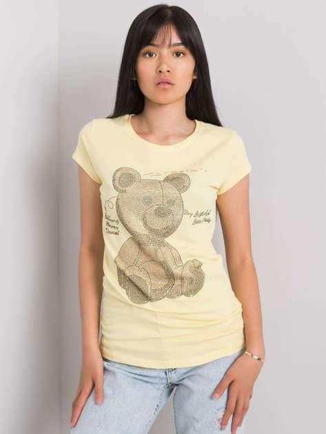 Jasnożółty t-shirt z aplikacją Misha