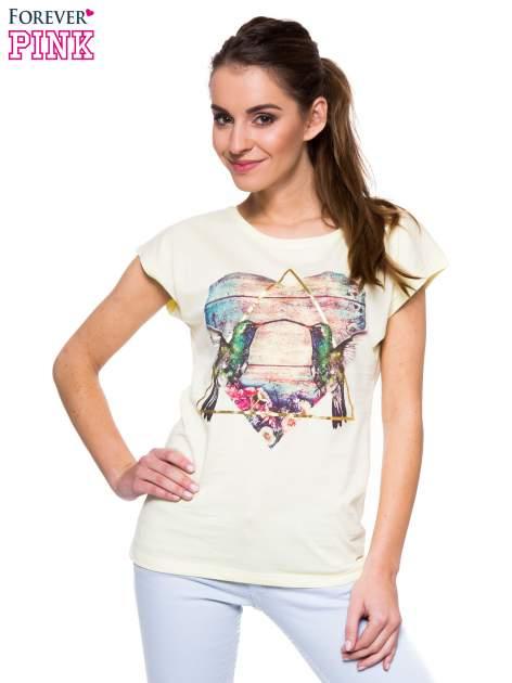 Jasnożółty t-shirt z hipsterskim nadrukiem ptaków                                  zdj.                                  1