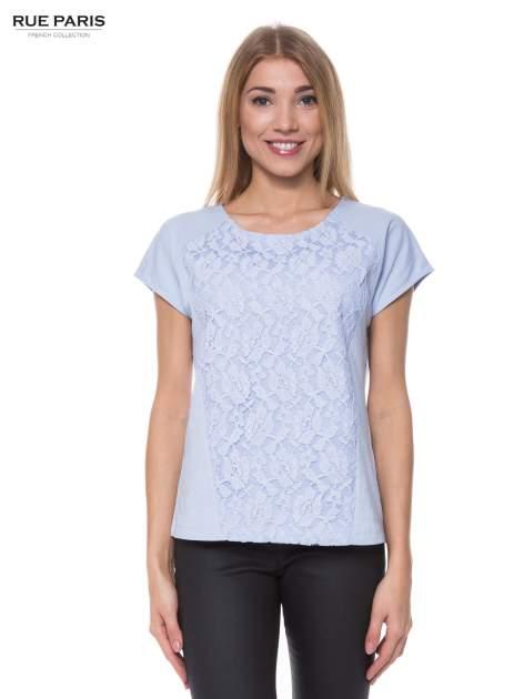 Jasoniebieski t-shirt z koronkowym przodem