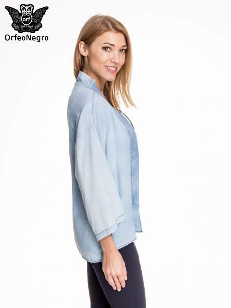 Jeansowa koszula narzutka o kroju kimono                                  zdj.                                  3