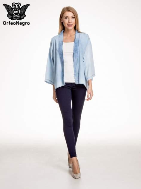 Jeansowa koszula narzutka o kroju kimono                                  zdj.                                  5