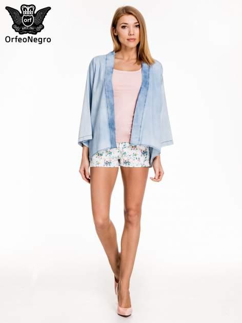 Jeansowa koszula narzutka o kroju kimono                                  zdj.                                  2