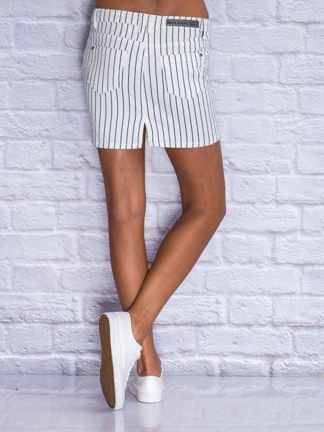 Jeansowa minispódnica w biało-granatowe paski                                  zdj.                                  2