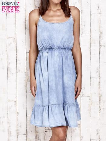 Jeansowa sukienka z falbaną na dole                                  zdj.                                  1