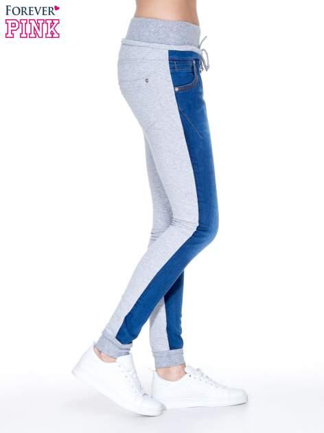 Jeansowo-dresowe spodnie typu tregginsy z wysokim pasem                                  zdj.                                  3