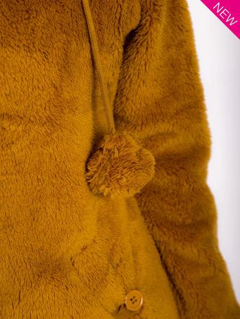 Karmelowa bluza polarowa z kapturem z uszkami i pomponami                                  zdj.                                  8