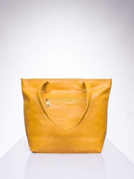 Karmelowa prosta torba shopper bag ze złotymi okuciami                                  zdj.                                  3