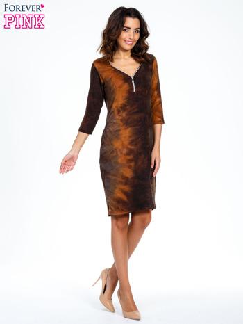 Kawowa sukienka z rękawem 3/4                                  zdj.                                  2