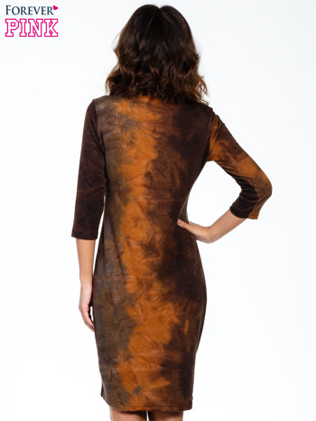Kawowa sukienka z rękawem 3/4                                  zdj.                                  4