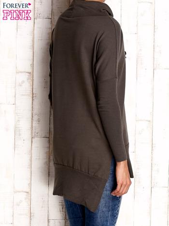 Khaki asymetryczna tunika z troczkami                                  zdj.                                  2