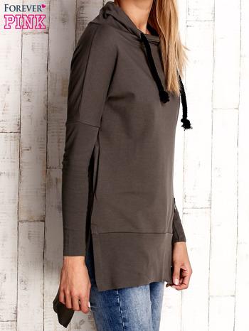 Khaki asymetryczna tunika z troczkami                                  zdj.                                  3