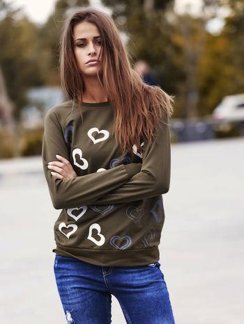Khaki bluza w serduszka                                  zdj.                                  1