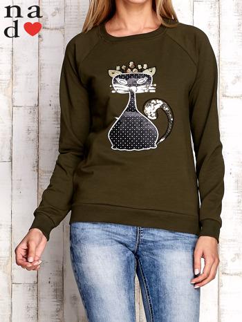 Khaki bluza z cekinowym kotem                                  zdj.                                  1