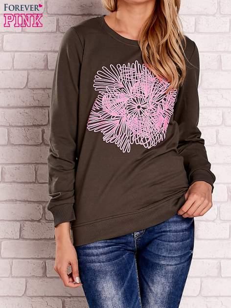Khaki bluza z kolorowym nadrukiem