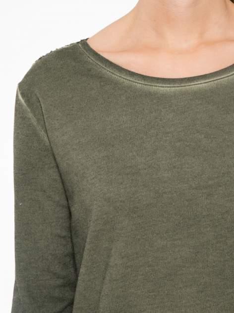 Khaki bluza z koronkową wstawką na plecach                                  zdj.                                  5