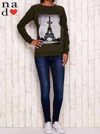 Khaki bluza z motywem Wieży Eiffla                                  zdj.                                  2