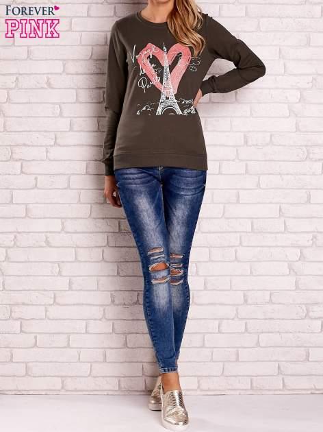 Khaki bluza z motywem paryskim                                  zdj.                                  2