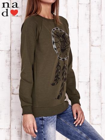 Khaki bluza z motywem sowy i łapacza snów                                  zdj.                                  3