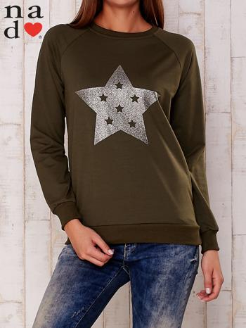 Khaki bluza z nadrukiem gwiazdy                                  zdj.                                  1