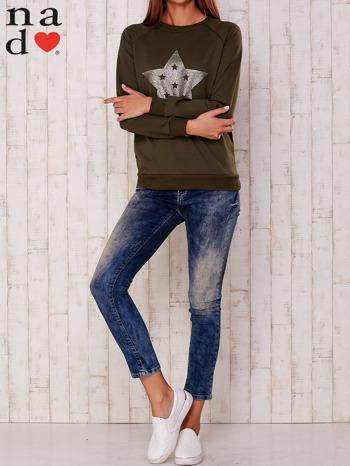 Khaki bluza z nadrukiem gwiazdy                                  zdj.                                  2
