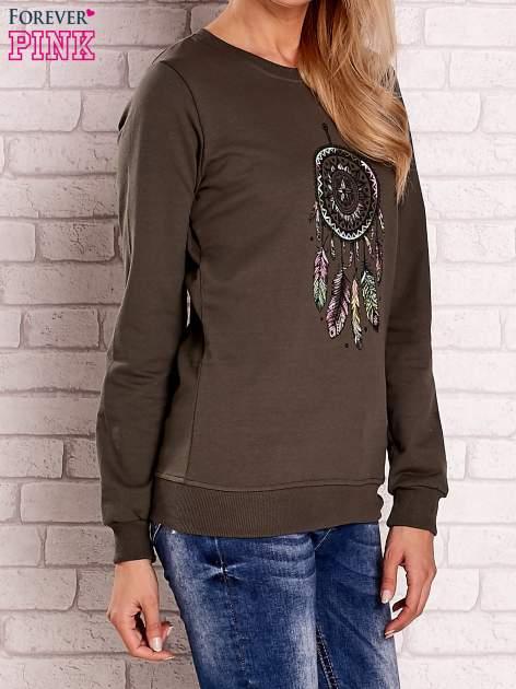 Khaki bluza z nadrukiem łapacza snów                                  zdj.                                  3