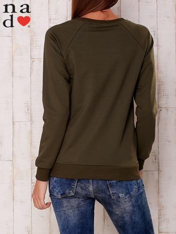 Khaki bluza z nadrukiem serca                                  zdj.                                  4