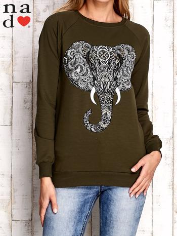 Khaki bluza z nadrukiem słonia                                  zdj.                                  1