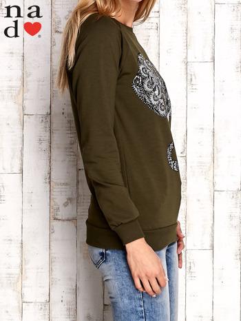 Khaki bluza z nadrukiem słonia                                  zdj.                                  3