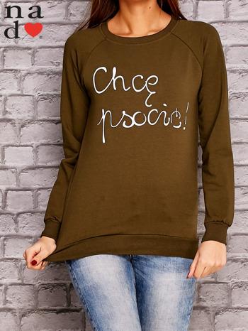 Khaki bluza z napisem CHCĘ PSOCIĆ                                  zdj.                                  1