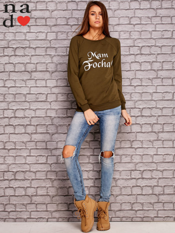 Khaki bluza z napisem MAM FOCHA                                  zdj.                                  2