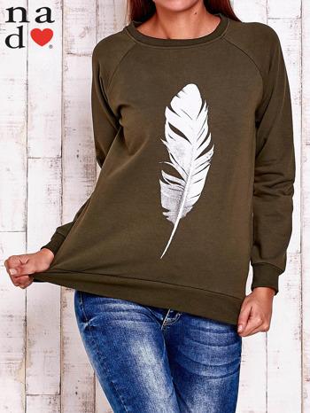 Khaki bluza z piórkiem                                  zdj.                                  2