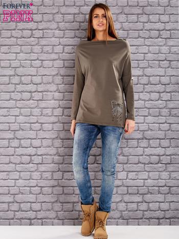 Khaki bluzka z koralikową aplikacją                              zdj.                              2