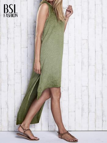 Khaki dekatyzowana sukienka maxi z dłuższym tyłem                                  zdj.                                  4