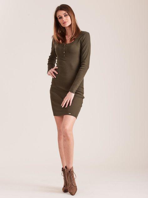 Khaki dopasowana sukienka z guzikami                              zdj.                              4