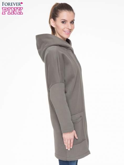 Khaki dresowy płaszcz z kapturem i kieszeniami                                  zdj.                                  3