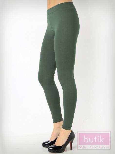 Khaki gładkie legginsy bawełniane                                  zdj.                                  2