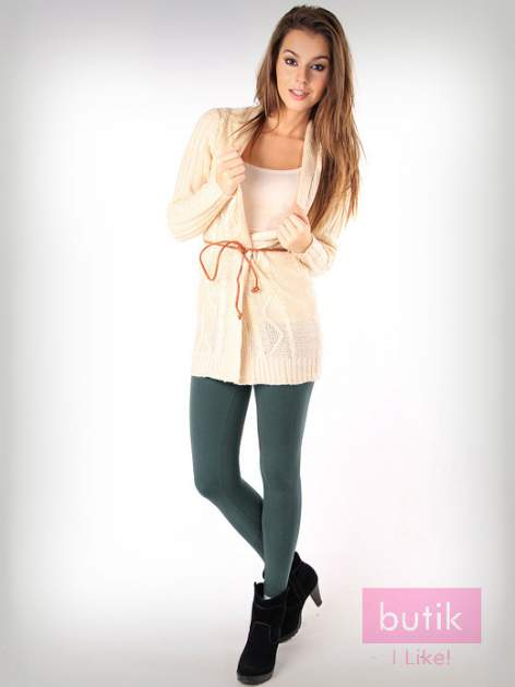 Khaki gładkie legginsy bawełniane                                  zdj.                                  1
