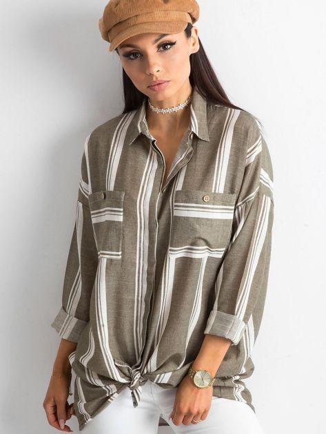 Khaki koszula damska w paski                              zdj.                              1