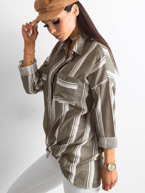 Khaki koszula damska w paski                              zdj.                              3