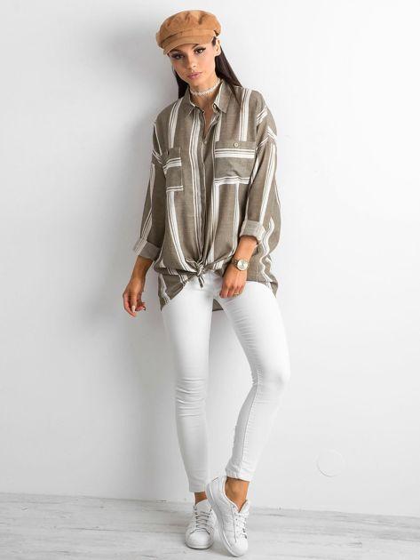 Khaki koszula damska w paski                              zdj.                              4