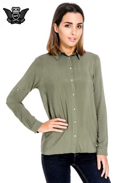 Khaki koszula damska z zamkiem z tyłu                                  zdj.                                  1